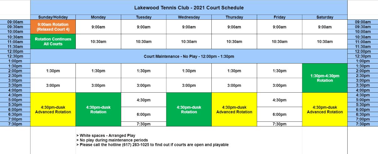 2021 Court Schedule